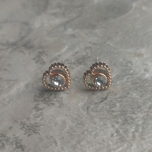 5 for $8 Rose Gold Faux Diamond Heart Earrings
